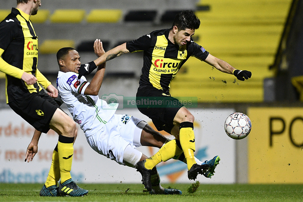 November 5, 2017 - Lier, BELGIUM - OHL's Yannick Aguemon and Lierse's Andrei da Silva Camargo fight for the ball during a soccer game between Lierse SK and OH Leuven, in Lier, Sunday 05 November 2017, on day 14 of the division 1B Proximus League competition of the Belgian championship. BELGA PHOTO YORICK JANSENS (Credit Image: © Yorick Jansens/Belga via ZUMA Press)