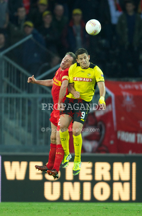 BERNE, SWITZERLAND - Thursday, September 20, 2012: Liverpool's captain Jamie Carragher in action against BSC Young Boys' Raul Bobadilla during the UEFA Europa League Group A match at the Wankdorf Stadion. (Pic by David Rawcliffe/Propaganda)