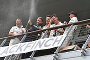 Surrey are Champions - The Surrey players on the team balcony celebrate winning the County Championship during the final day of the Specsavers County Champ Div 1 match between Worcestershire County Cricket Club and Surrey County Cricket Club at New Road, Worcester, United Kingdom on 13 September 2018.