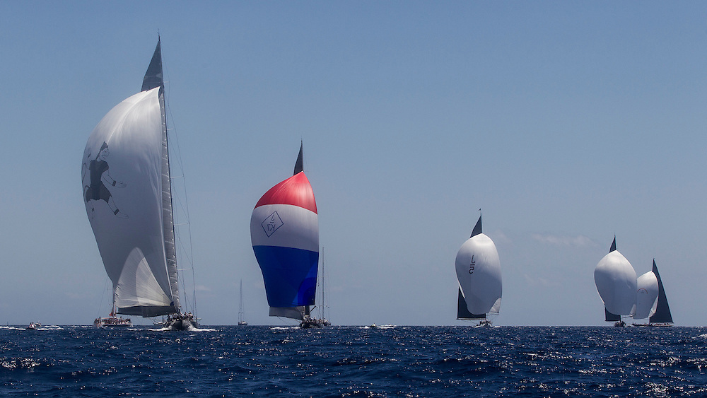 SPAIN, Palma. 22nd June 2013. Superyacht Cup. Race Four, Coastal Race. L-R, Hanuman, Velshda, Ranger, Lionheeart, Rainbow.