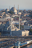Nuruosmaniye (baroque) mosque and new mosque (foreground) in Istanbul