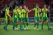 West Bromwich Albion players gesture towards the away fans at full time during the EFL Sky Bet Championship match between Rotherham United and West Bromwich Albion at the AESSEAL New York Stadium, Rotherham, England on 22 December 2018.