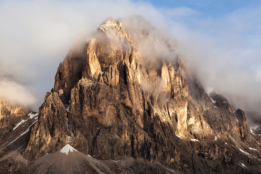 Passo di Sella close up from one mountain in early morning light