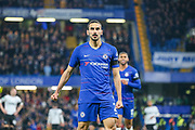 Chelsea defender Davide Zappacosta (21) celebrates after scoring a goal taking the score to 2-1 too Chelsea during the EFL Cup 4th round match between Chelsea and Derby County at Stamford Bridge, London, England on 31 October 2018.