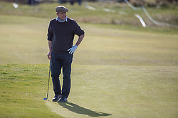 Actor Hugh Grant has a look of disgust following his chunked chip at the 16th hole during day two of the Alfred Dunhill Links Championship at Carnoustie Golf Links, Angus.