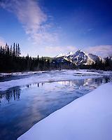 Mount Lorette and the Kananaskis River in winter Alberta Canada