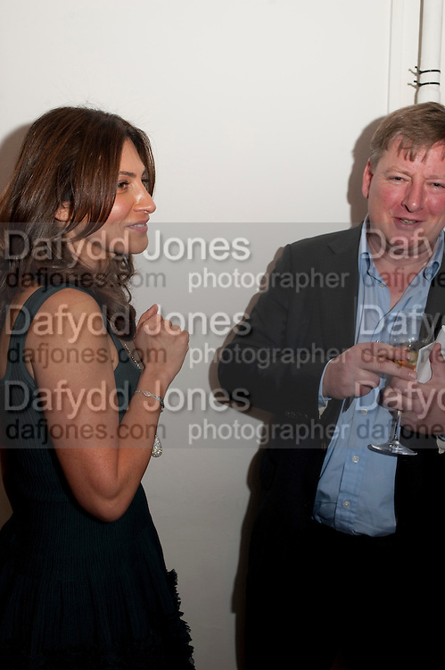 ELLA KRASNER; JACK SOAMES, THE LAUNCH OF THE KRUG HAPPINESS EXHIBITION AT THE ROYAL ACADEMY, London. 12 December 2011.