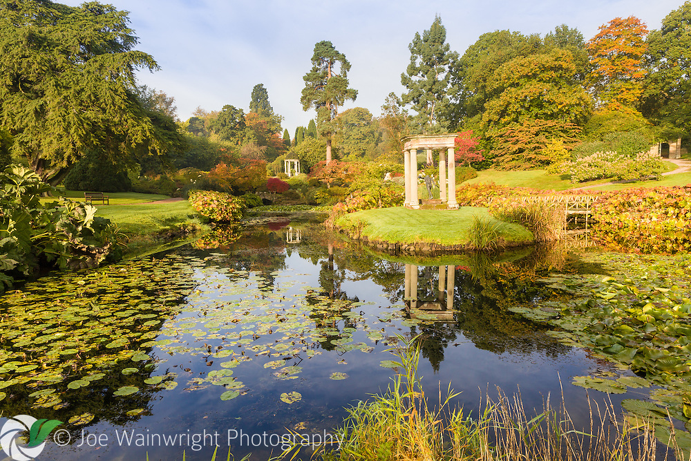 An October dawn in the Temple Garden at Cholmondeley Castle, Cheshire
