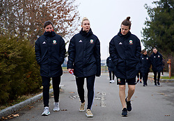 BOLOGNA, ITALY - Tuesday, January 22, 2019: Wales' L-R Helen Ward, Rhiannon Roberts and Hayley Ladd during a pre-match walk at the team hotel in Bologna ahead of the International Friendly game against Italy. (Pic by David Rawcliffe/Propaganda)
