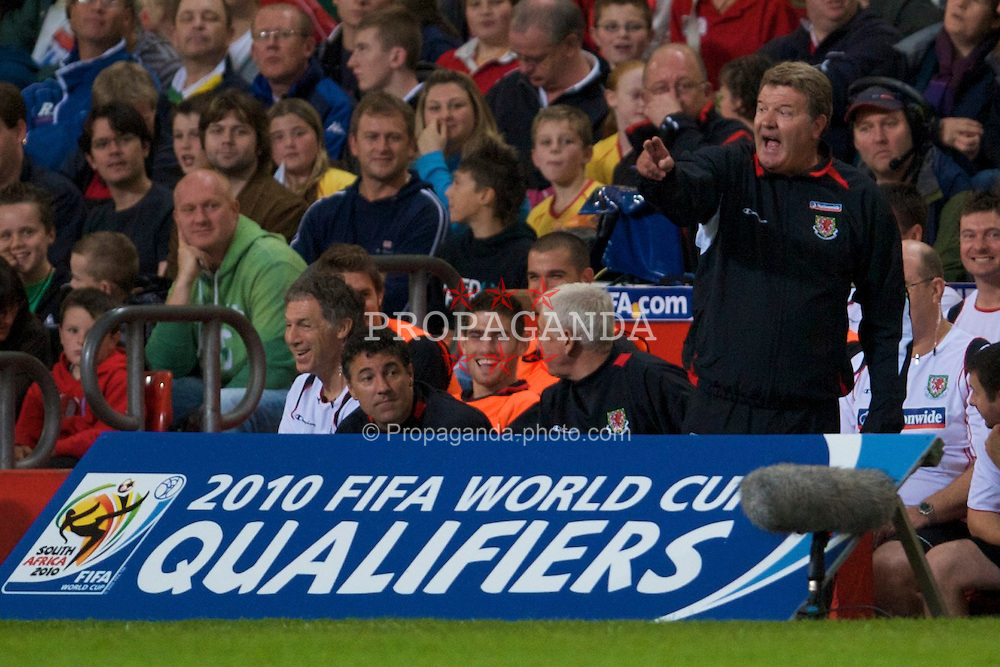CARDIFF, WALES - Friday, September 5, 2008: Wales' manager John Toshack during the opening 2010 FIFA World Cup South Africa Qualifying Group 4 match against Azerbaijan at the Millennium Stadium. (Photo by David Rawcliffe/Propaganda)