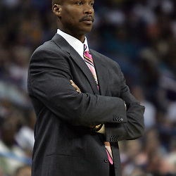 New Orleans Hornets head coach Byron Scott looks on from the bench during the fourth quarter of the Hornets game against the Utah Jazz on April 8, 2008 at the New Orleans Arena in New Orleans, Louisiana. The Utah Jazz defeated the New Orleans Hornets 77-66.