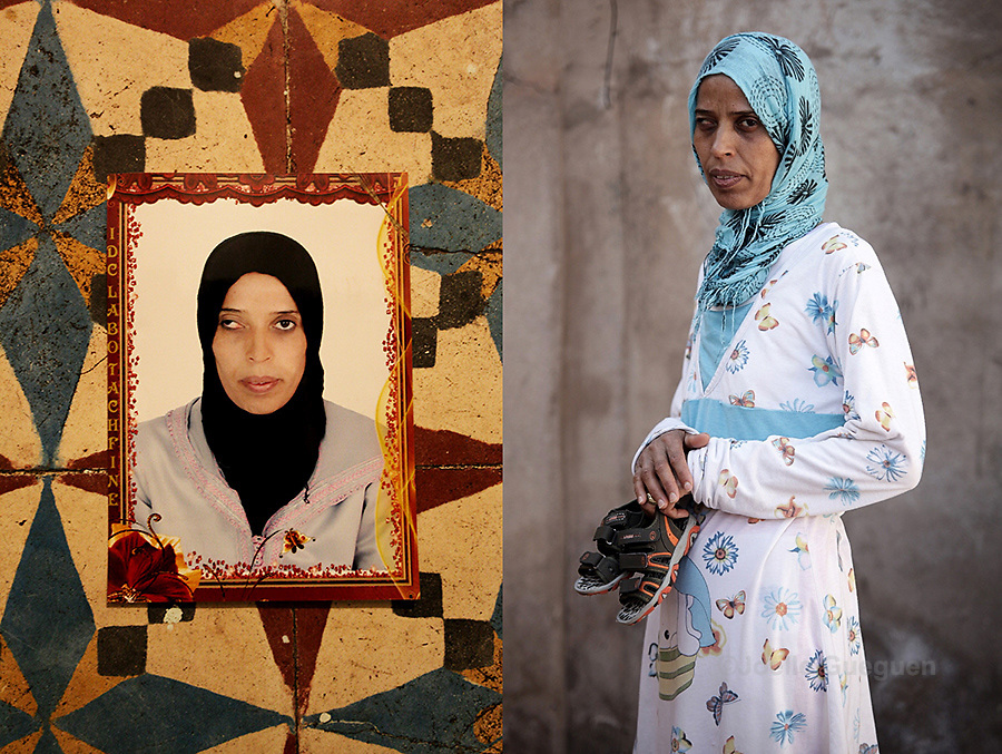 Saida at the age of 20 years - photograph on the left. Fatiha Hadad now, single mother of 32 years old - photograph on the right- Saida has raised  her son Mohamed 2 years old on her own since he was born. Only one her sisters knows Mohammed is hers,she cumulates various jobs to make ends meet and earns the equivalent of 140euros/month. Marrakech Daoudiat district - June 2013