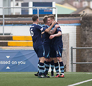 Forfar's Thomas O'Brien is congraulate after his headed goal completed the scroring during Forfar's 3-0 win over Clyde in SPFL League Two  at Station Park, Forfar, Photo: David Young<br /> <br />  - &copy; David Young - www.davidyoungphoto.co.uk - email: davidyoungphoto@gmail.com