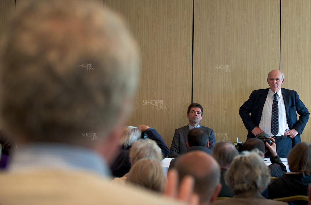 Liberal Democrat Shadow Chancellor Vince Cable,Tom Brake(L), hold a Question & answer at the Sutton Chamber of Commerce, on April 20, 2010. Surry.