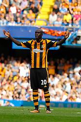 Hull City's Yannick Sagbo reacts  - Photo mandatory by-line: Mitchell Gunn/JMP - Tel: Mobile: 07966 386802 18/08/2013 - SPORT - FOOTBALL - Stamford Bridge - London -  Chelsea v Hull City - Barclays Premier League
