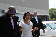 16 August 2008 - Chicago, Illinois - Steve Harvey and .wife Marjorie.Bernie Mac Public Memorial.Venue: House of Hope, 752 E 114th St, Chicago, IL, 12pm. Photo Credit: Heather A. Lindquist/Sipa.