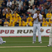 Phillip Hughes batting and Andrew Flintoff during their confrontation on the second day of the England V Australia  Ashes Test series at Cardiff, Wales, on Thursday, July 09, 2009. Photo Tim Clayton.