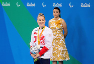 Harriet Lee of Great Britain celebrates winning the Silver medal after the Women's 100m Breaststroke SB9 Final on Day One of the Rio Paralympics  in Rio de Janeiro, Brazil<br /> Picture by EXPA Pictures/Focus Images Ltd 07814482222<br /> 08/09/2016<br /> *** UK & IRELAND ONLY ***<br /> <br /> EXPA-SLO-160909-0054.jpg