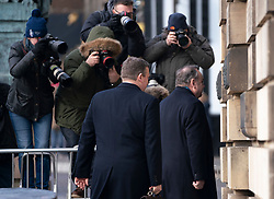 Edinburgh, Scotland, UK. 12 March, 2020.  Alex Salmond arrives at the High Court in Edinburgh on the fourth day of his trial. He is accused of various sexual offences all of which he denies. Iain Masterton/Alamy Live News