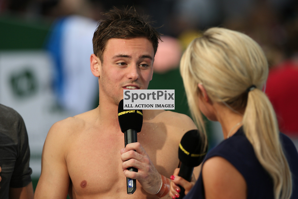 LONDON, UNITED KINGDOM 03 MAY 2015: Tom Daley being interviewed after the final of the men's 10m diving competition at the FINA/NVC Diving World Series London (GBR), on May 03, 2015 in London, England. (Photo by Michael Poole)