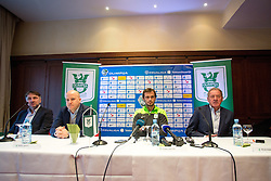 Ranko Stojic, sports director, Marko Nikolic, head coach of NK Olimpija Ljubljana, Danko Lazovic, new football player, and Milan Mandaric, president of NK Olimpija during press conference and practice session of NK Olimpija Ljubljana, on February 25, 2016 in Austria Trend Hotel, Ljubljana, Slovenia. Photo by Matic Klansek Velej / Sportida
