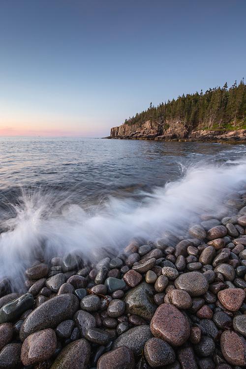 Waves Crashing on Boulder Beach in Acadia National Park.