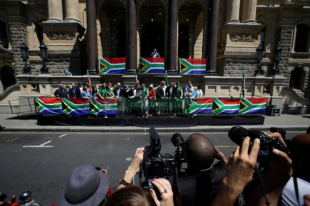 Monday 17th October 2016.<br /> Grand Parade & Greenpoint Athletics Stadium, Cape Town,<br /> Western Cape, South Africa.<br /> <br /> Cape Town Honours South African Olympic And Paralympic Heroes<br /> <br /> The general view of the Olympic and Paralympic heroes gathered together at Grand Parade.<br /> <br /> Cape Town honours the South African Olympic and Paralympic heroes during a special celebratory event held in Cape Town, Western Cape, South Africa on Monday 17 October 2016.<br /> <br /> Picture By: Mark Wessels / Real Time Images.