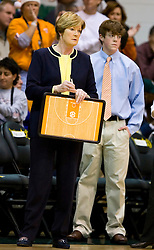 December 22, 2009; San Francisco, CA, USA;  Tennessee Lady Volunteers head coach Pat Summitt (left) and her son Tyler Summitt during the first half against the San Francisco Dons at War Memorial Gym.  Tennessee defeated San Francisco 89-34.
