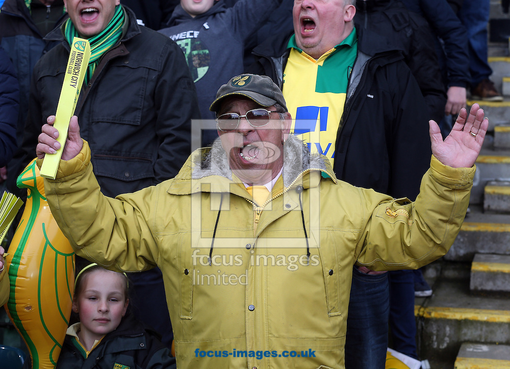 The home fans get behind their side with blow up Canaries and call banners before the Barclays Premier League match at Carrow Road, Norwich<br /> Picture by Paul Chesterton/Focus Images Ltd +44 7904 640267<br /> 16/04/2016