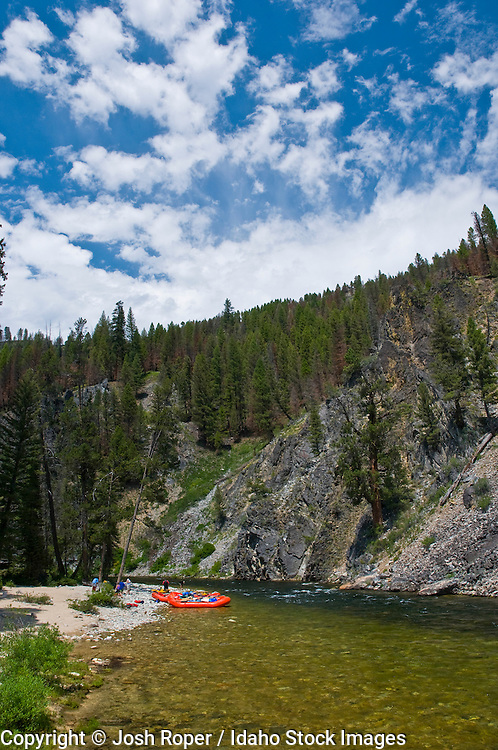 Idaho, Middle Fork of the Salmon River. Rafters enjoying the river in summer.