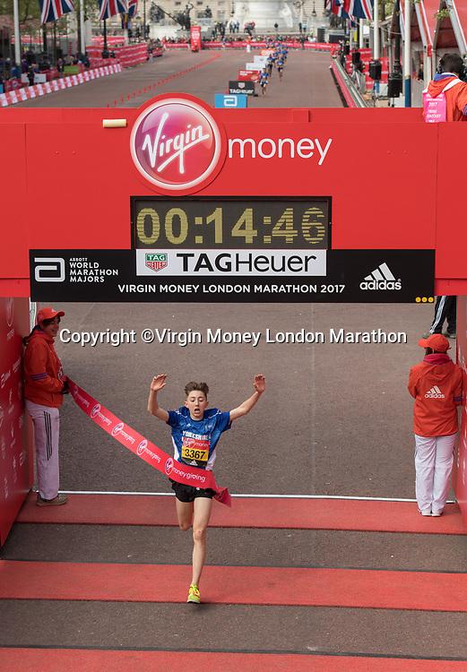 Joshua Dickinson, Yorkshire and Humberside, wins the U15 Boys British Athletics Road Championship at the Mini Marathon. The Virgin Money London Marathon, 23rd April 2017.<br /> <br /> Photo: Thomas Lovelock for Virgin Money London Marathon<br /> <br /> For further information: media@londonmarathonevents.co.uk