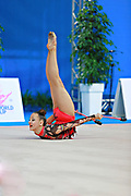 """Agagulian Iasmina during clubs routine at the International Tournament of rhythmic gymnastics """"Città di Pesaro"""", 02 April,2016 . She is an Armenian rhythmic gymnastics athlete born in Yerevan in 2001.<br /> This tournament dedicated to the youngest athletes is at the same time of the World Cup."""