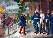 Franco-Prussian War 1870-1871: Napoleon III of France surrendering his sword to Wilhelm I of Germany on 2 September 1870 after overwhelming  defeat of the French.  Emperor