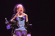 Disabled activist, actor and comedian Liz Carr has chosen the spectacular world of musical theatre as the backdrop to exploring the complex and controversial subject of assisted suicide in her new show Assisted Suicide: The Musical. Part of London Southbank's UNLIMITED: Extraordinary new work by disabled artists. Picture features: Liz Carr, Issac Bernier-Doyle, Gillian Dean,David James, Stephanie James