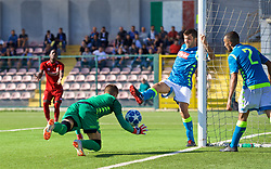 NAPLES, ITALY - Wednesday, October 3, 2018: Napoli's goalkeeper Alessandro D'Andrea has the ball kicked against his head by his own defender during the UEFA Youth League Group C match between S.S.C. Napoli and Liverpool FC at Stadio Comunale di Frattamaggiore. (Pic by David Rawcliffe/Propaganda)