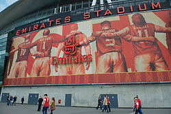 LONDON, ENGLAND - Sunday, April 17, 2011: Supporters mill around Arsenal's Emirates Satdium before the Premiership match against Liverpool. The stadium generates huge amounts of income for the club, notably from the naming rights sold to Emirates Airlines. (Photo by David Rawcliffe/Propaganda)