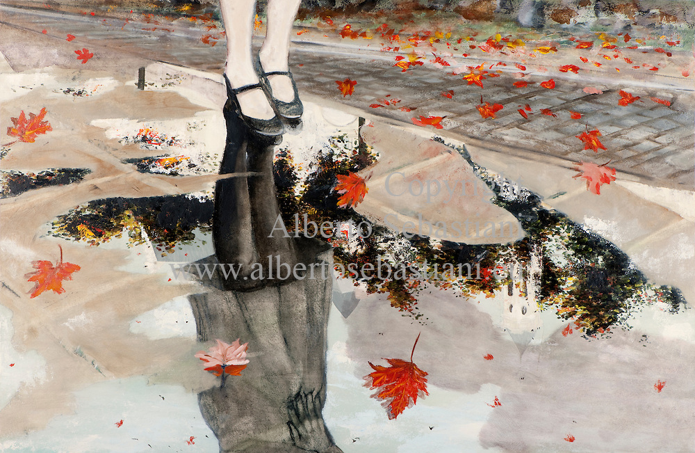 A woman and a man meet in an autumn windy day..hand painted picture. this painting was created as a hand made work following exclusively my own fantasy and personal inspiration; it is an original composition of which I'm the sole author