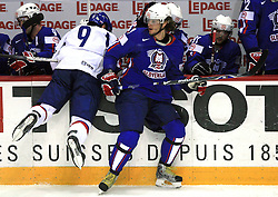Peter Huzevka of Slovakia and Gregor Poloncic of Slovenia at ice-hockey game Slovenia vs Slovakia at Relegation  Round (group G) of IIHF WC 2008 in Halifax, on May 09, 2008 in Metro Center, Halifax, Nova Scotia, Canada. Slovakia won 5:1. (Photo by Vid Ponikvar / Sportal Images)
