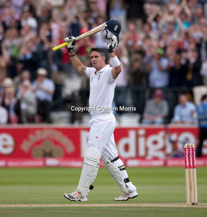 Kevin Pietersen celebrates his century during the first npower Test Match between England and India at Lord's Cricket Ground, London.  Photo: Graham Morris (Tel: +44(0)20 8969 4192 Email: sales@cricketpix.com) 22/07/11