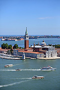 View of Church of San Giorgio Maggiore<br /> from the Campanile di San Marco (St. Mark's bell tower), Venice, Italy