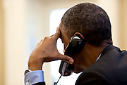14.JUNE.2012. WASHINGTON D.C.<br /> <br /> PRESIDENT BARACK OBAMA TALKS ON THE PHONE WITH EUROPEAN COUNCIL PRESIDENT HERMAN VAN ROMPUY IN THE OVAL OFFICE, JUNE 13, 2012.   <br /> <br /> BYLINE: EDBIMAGEARCHIVE.CO.UK<br /> <br /> *THIS IMAGE IS STRICTLY FOR UK NEWSPAPERS AND MAGAZINES ONLY*<br /> *FOR WORLD WIDE SALES AND WEB USE PLEASE CONTACT EDBIMAGEARCHIVE - 0208 954 5968*