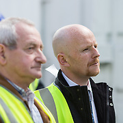24.04.2017.       <br /> Minister for Housing Simon Coveney visiting the Lord Edward Street site in Limerick, where 81 units for social housing are nearing completion as part of the Limerick Regeneration programme.  57 of which are elderly units (1 and 2 bed apts and 2 bed houses) with the remainder (24) being family homes (3 bed). <br /> <br /> Pictured at the event were Fisherman Quay residents, Andy Mowat and Alan McCarthy. Picture: Alan Place.