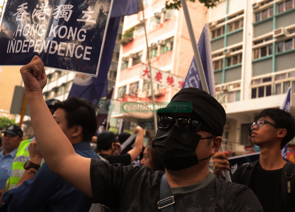 October 1, 2018 - Hong Kong, CHINA - Pro-Hong Kong independence supporter display a banner calling for Hong Kong independence during annual anti-China political rally on the national day. Today marks the 69th anniversary of the founding of PRC. Oct-1,2018 Hong Kong.ZUMA/Liau Chung-ren (Credit Image: © Liau Chung-ren/ZUMA Wire)