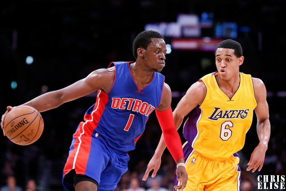 10 March 2015: Detroit Pistons guard Reggie Jackson (1) drives past Los Angeles Lakers guard Jordan Clarkson (6) during the Los Angeles Lakers 93-85 victory over the Detroit Pistons, at the Staples Center, Los Angeles, California, USA.