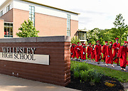 Students from the Class of 2017 walk to their ceremony during the 148th Graduation exercises at Wellesley High School on June, 2, 2017.   [Wicked Local Photo/James Jesson]