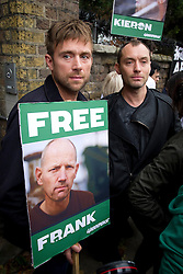 © London News Pictures. 05/10/2013.  London, UK. Musician Damon Albarn (left) and actor Jude Law (right) attend the demo.  Supporters of Greenpeace stage a demonstration outside the Russian Embassy in London to protest against the arrest of 30 Greenpeace activists, known as the 'Arctic 30' who charged with piracy by a Russian court, following a peaceful protest against Arctic oil drilling at an oil platform in the Pechora Sea. Photo credit Ben Cawthra/LNP