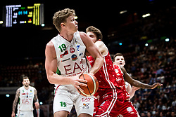 April 29, 2018 - Milan, Milan, Italy - Mindaugas Kuzminskas (#19 EA7 Emporio Armani Milano) looks for a pass during a basketball game of Poste Mobile Lega Basket A between  EA7 Emporio Armani Milano vs VL Pesaro at Mediolanum Forum, in Milan, Italy, on April 29, 2018. (Credit Image: © Roberto Finizio/NurPhoto via ZUMA Press)