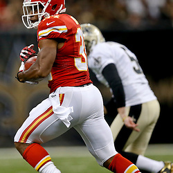 Aug 9, 2013; New Orleans, LA, USA; Kansas City Chiefs cornerback Vince Agnew (34) against the New Orleans Saints during a preseason game at the Mercedes-Benz Superdome. The Saints defeated the Chiefs 17-13. Mandatory Credit: Derick E. Hingle-USA TODAY Sports