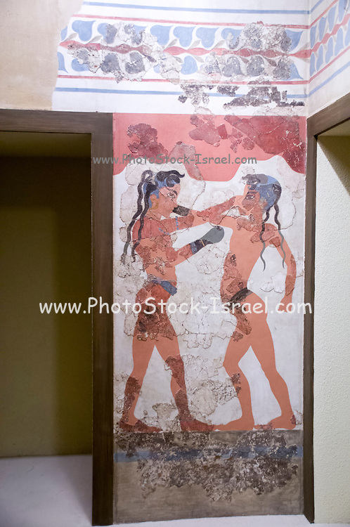 The boxing children fresco at the National Archaeology Museum, Greece, Athens