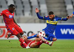Cape Town-180804 Cape Town City midfielder Riyaad Norodien challenged by Anismor Basera of Supersport in the first game of the 2018/2019 season at Cape Town Stadium.photograph:Phando Jikelo/African News Agency/ANAr